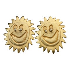 Vintage 1987 BILLY BOY SURREAL Bijoux Smiley Sun Face Earrings