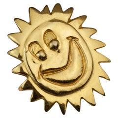 Vintage 1987 BILLY BOY Surreal Smiley Sun Face Brooch