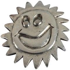 Vintage 1987 BILLY BOY Surreal Smiley Sun Face Silver Brooch