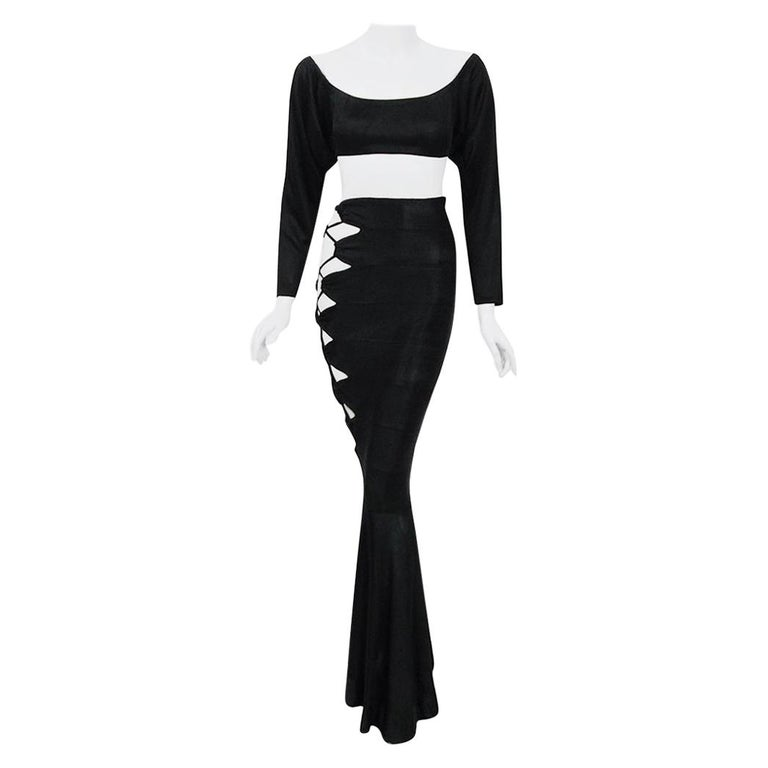 Vintage 1987 Cher Witches of Eastwick Movie-Worn Alaia Lace Up Skirt & Crop Top For Sale