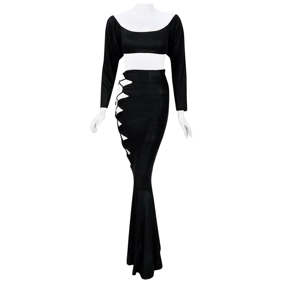 Vintage 1987 Cher Witches of Eastwick Movie-Worn Alaia Lace Up Skirt & Crop Top