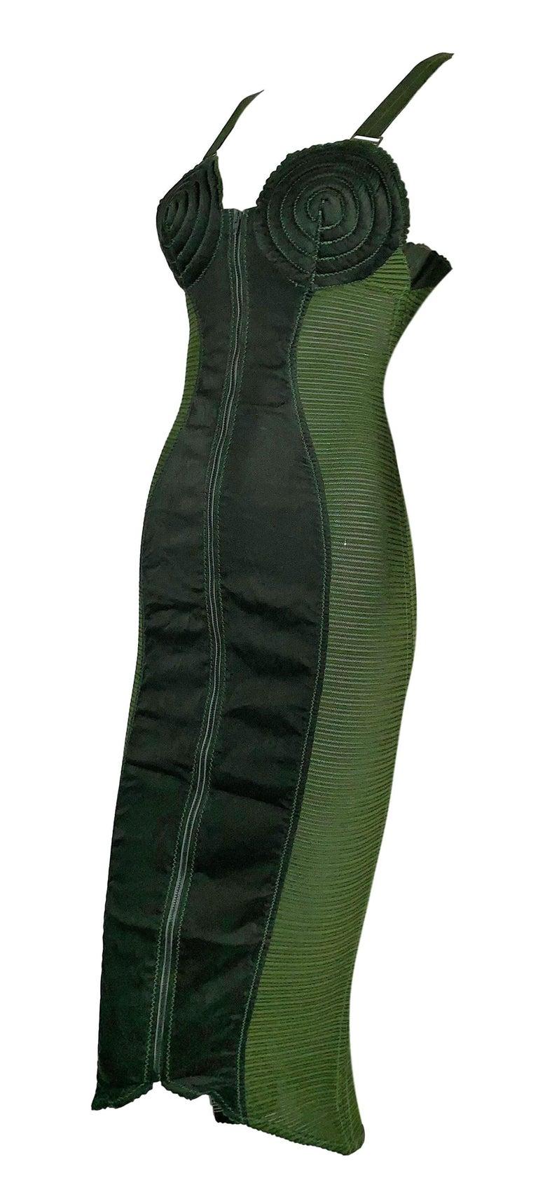 Black Vintage 1987 Jean Paul Gaultier Green Sheer Bandage Cone Bra Wiggle Dress