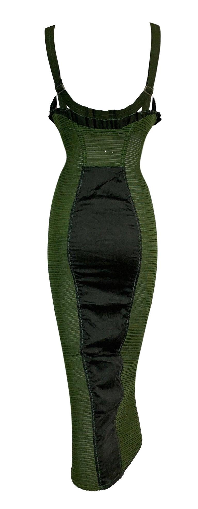 Vintage 1987 Jean Paul Gaultier Green Sheer Bandage Cone Bra Wiggle Dress In Good Condition In Yukon, OK