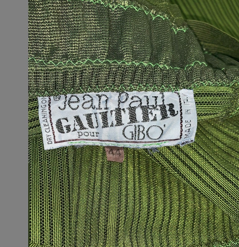 Women's Vintage 1987 Jean Paul Gaultier Green Sheer Bandage Cone Bra Wiggle Dress