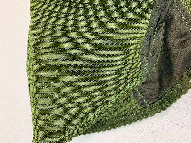 Vintage 1987 Jean Paul Gaultier Green Sheer Bandage Cone Bra Wiggle Dress 1