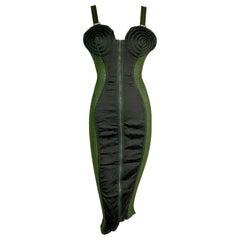 Vintage 1987 Jean Paul Gaultier Green Sheer Bandage Cone Bra Wiggle Dress