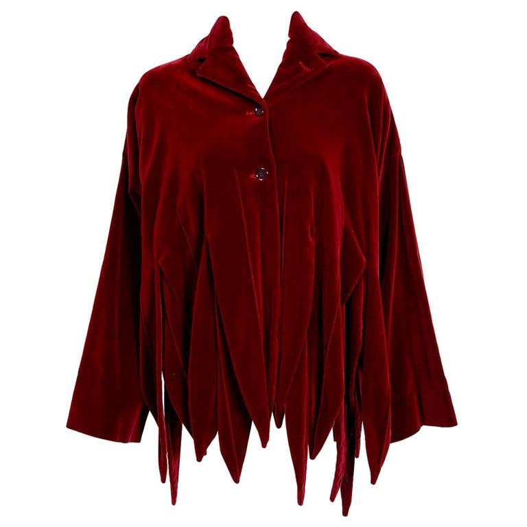 Vintage 1987 Romeo Gigli Museum-Held Red Velvet Jester Petal Swing Coat Jacket  For Sale