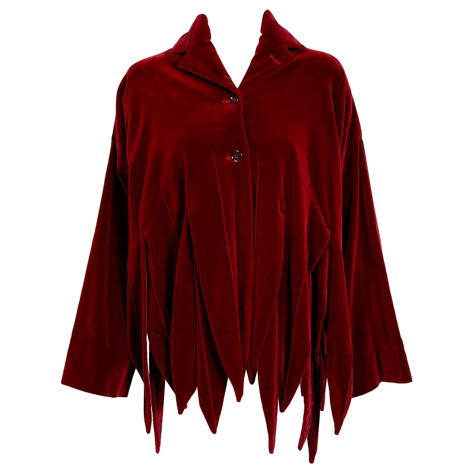 Vintage 1987 Romeo Gigli Museum-Held Red Velvet Jester Petal Swing Coat Jacket