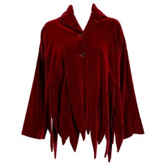 Vintage 1987 Romeo Gigli Museum-Held Red Velvet Jester Petal Swing Coat Jacket