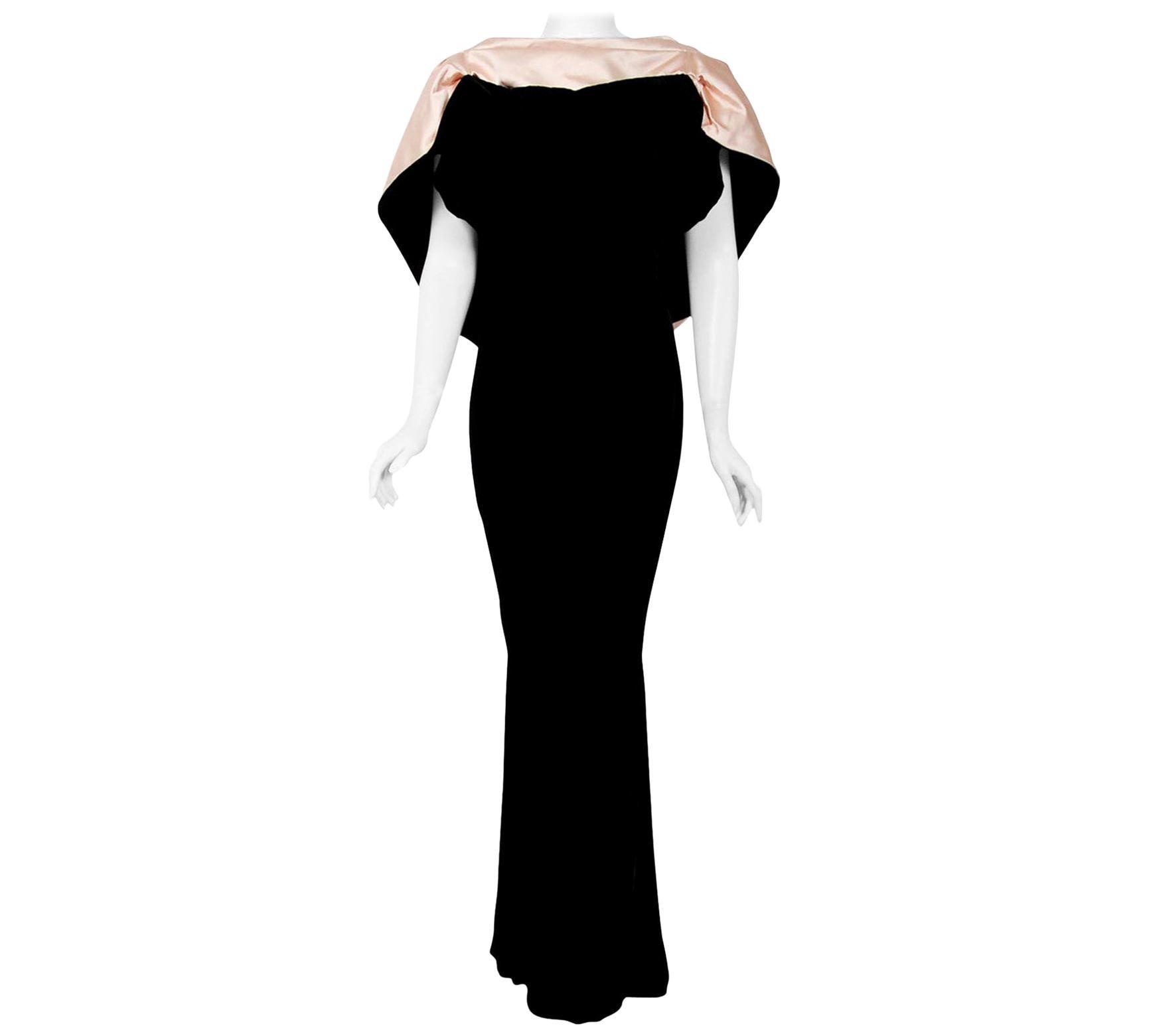 Vintage 1987 Thierry Mugler Museum-Held Velvet & Satin Bias-Cut Backless Gown
