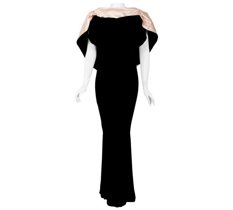 Vintage 1987 Thierry Mugler Museum-Held Velvet & Satin Bias-Cut Backless Gown For Sale