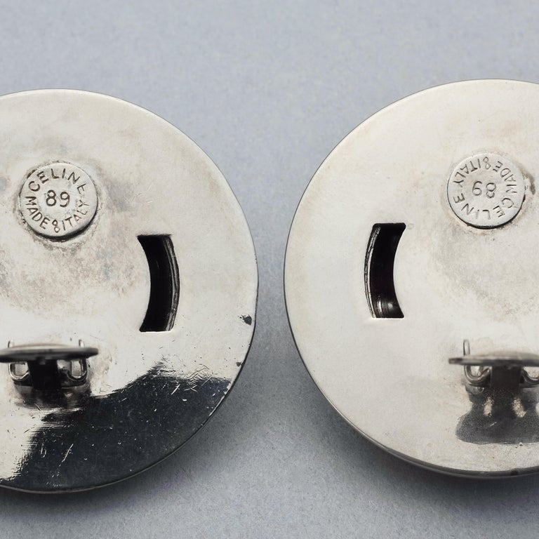 Vintage 1989 CELINE PARIS Rhinestone Planet Sphere Earrings For Sale 6