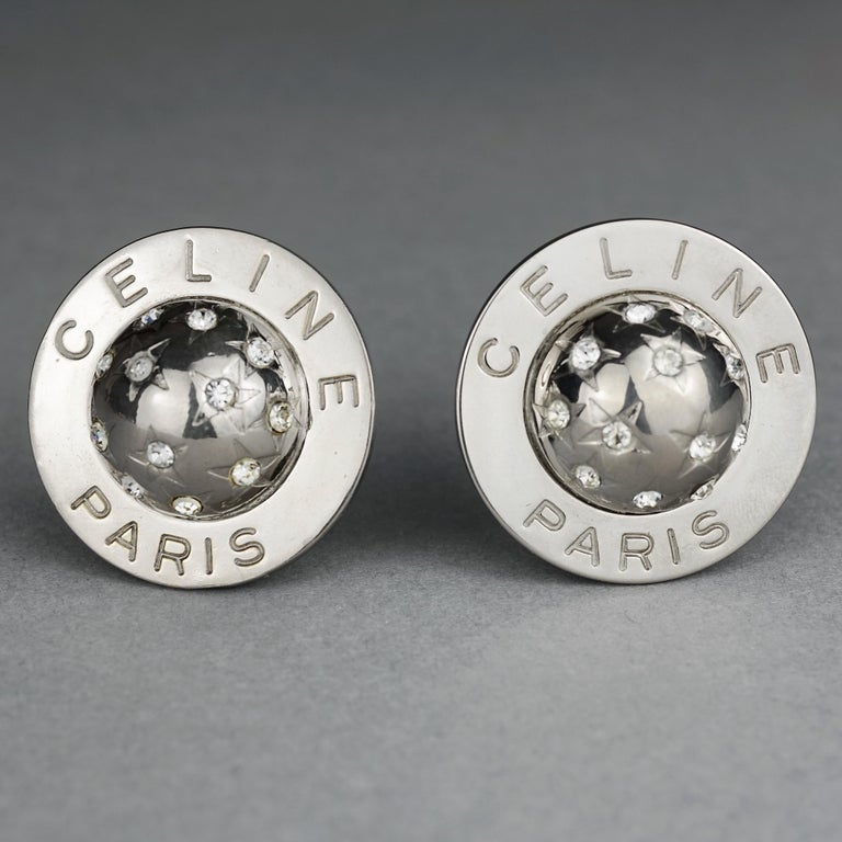 Vintage 1989 CELINE PARIS Rhinestone Planet Sphere Earrings In Good Condition For Sale In Kingersheim, Alsace