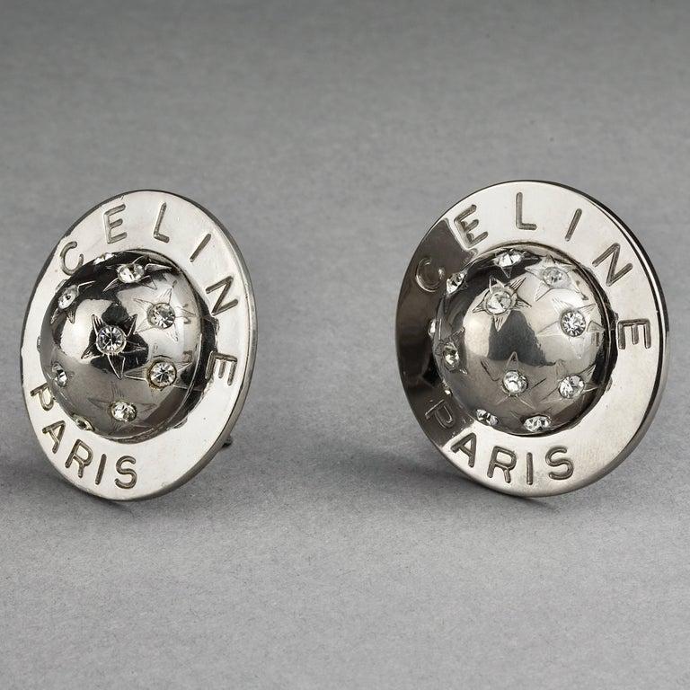 Women's Vintage 1989 CELINE PARIS Rhinestone Planet Sphere Earrings For Sale