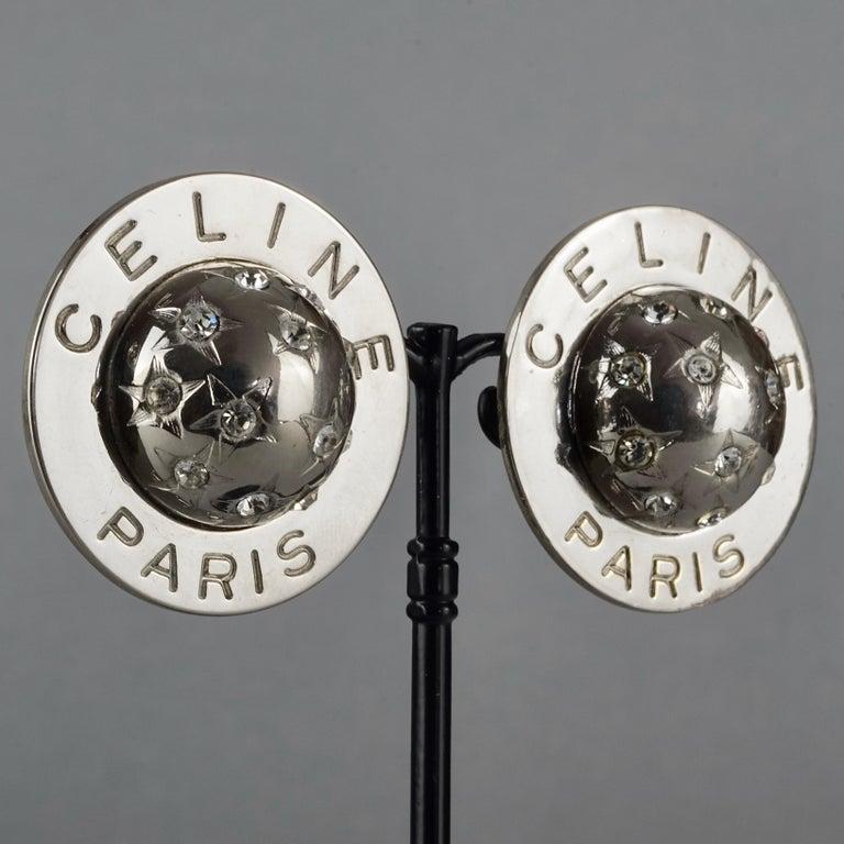 Vintage 1989 CELINE PARIS Rhinestone Planet Sphere Earrings For Sale 1