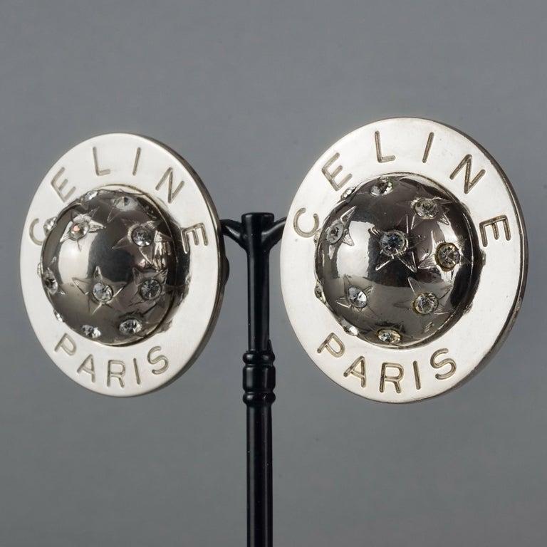 Vintage 1989 CELINE PARIS Rhinestone Planet Sphere Earrings For Sale 2