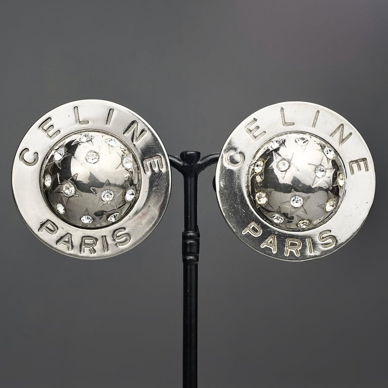 Vintage 1989 CELINE PARIS Rhinestone Planet Sphere Earrings For Sale 3