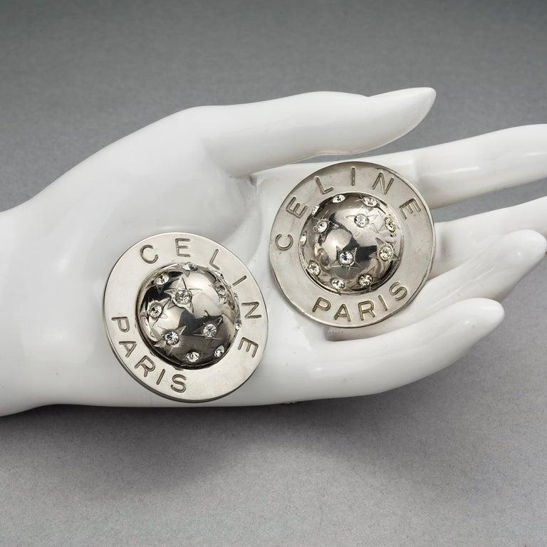 Vintage 1989 CELINE PARIS Rhinestone Planet Sphere Earrings For Sale 4