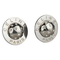 Vintage 1989 CELINE PARIS Rhinestone Planet Sphere Earrings