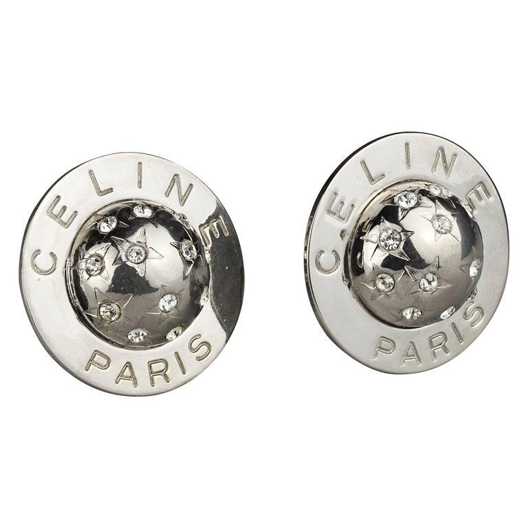 Vintage 1989 CELINE PARIS Rhinestone Planet Sphere Earrings For Sale