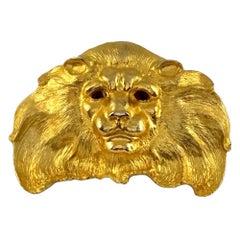 Vintage 1989 CHRISTOPHER ROSS Sculpture Lion Belt Buckle