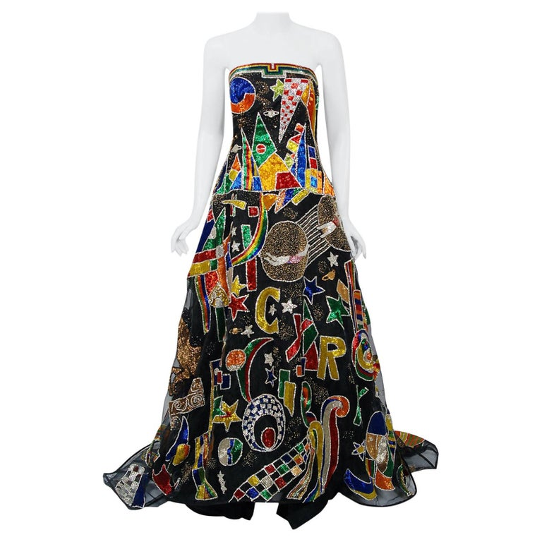 Vintage 1989 Gianni Versace Haute Couture Beaded Circus Novelty Gown and Shawl For Sale