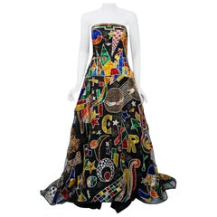 Vintage 1989 Gianni Versace Haute Couture Beaded Circus Novelty Gown and Shawl