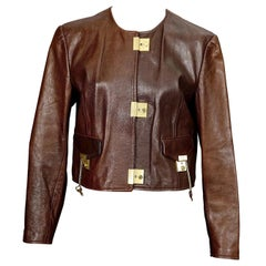 Vintage 1989 MOSCHINO CHEAP and CHIC Lock Key Brown Leather Cropped Jacket