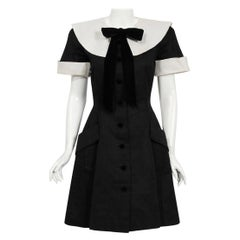 Vintage 1989 Valentino Couture Black & White Collar Cuff Silk Babydoll Dress