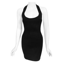 Vintage 1990 Azzedine Alaia Black Stretch Rayon Halter Micro-Mini Bodycon Dress
