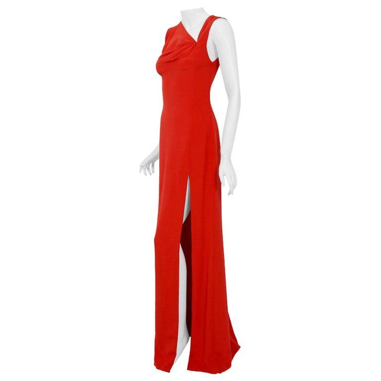Vintage 1990 Bill Blass Poppy Red Silk Asymmetric Bias-Cut High Slit Gown w/Tags For Sale