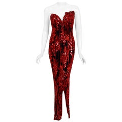 Vintage 1990 Bob Mackie Red Grapevines Beaded Silk Strapless Hourglass Slit Gown