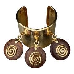 Vintage 1990 CELINE PARIS Spiral Wood Charm Cuff Bracelet
