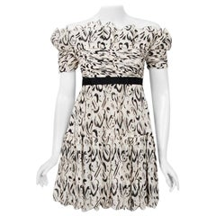 Vintage 1990 Chanel Documented Black & White Print Silk Off-Shoulder Mini Dress