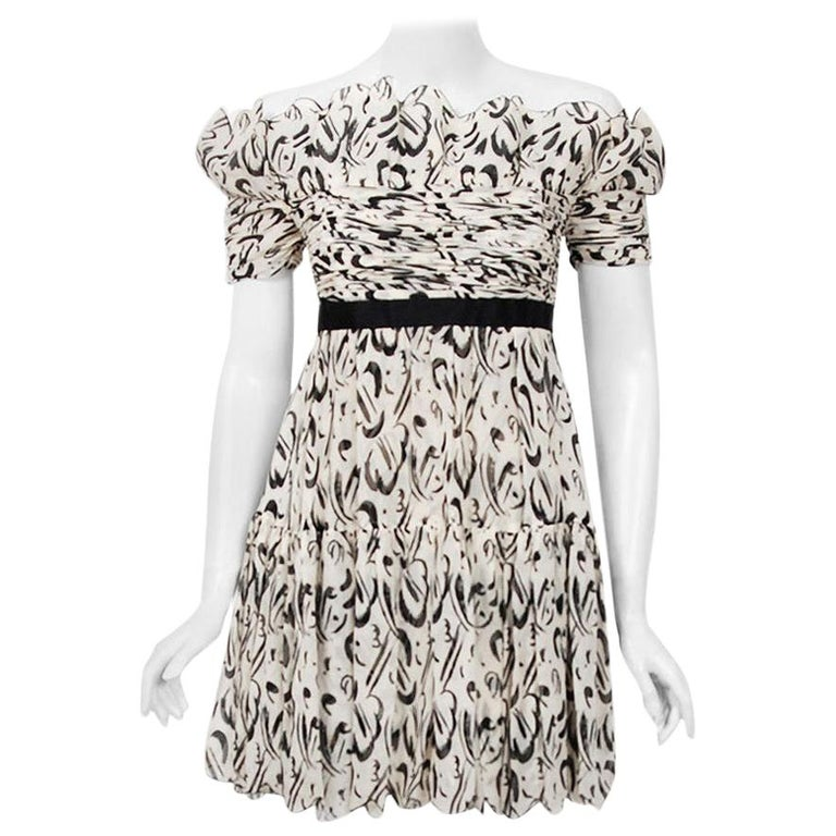 Vintage 1990 Chanel Documented Black & White Print Silk Off-Shoulder Mini Dress For Sale