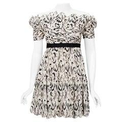 Vintage 1990 Chanel Documented Black & White Print Silk Off-Shoulder Mini Dress