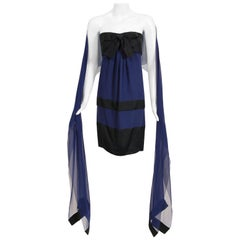Vintage 1990 Chanel Documented Sapphire-Blue Black Silk Strapless Dress & Shawl