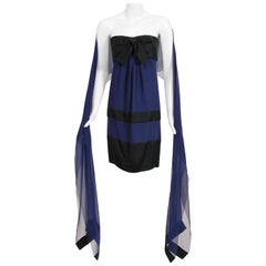 Vintage 1990 Chanel Runway Sapphire-Blue & Black Silk Strapless Dress w/ Shawl