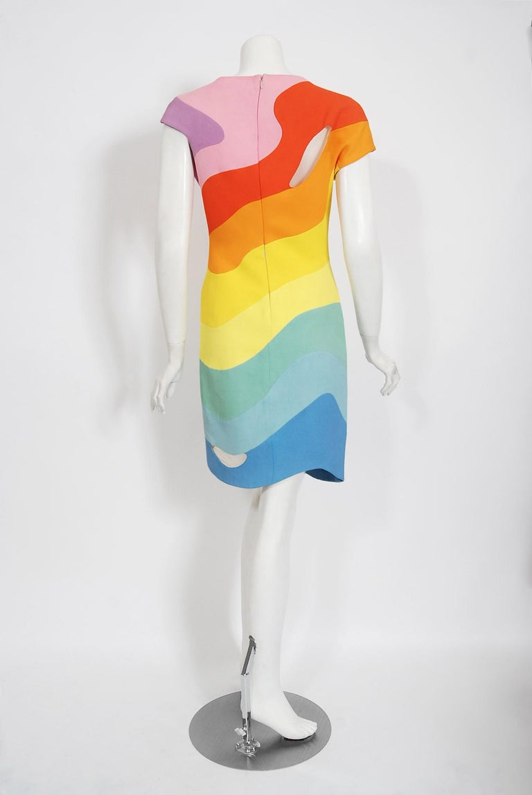 Vintage 1990 Thierry Mugler Couture Documented Rainbow Bodycon Cut-Out Dress For Sale 5