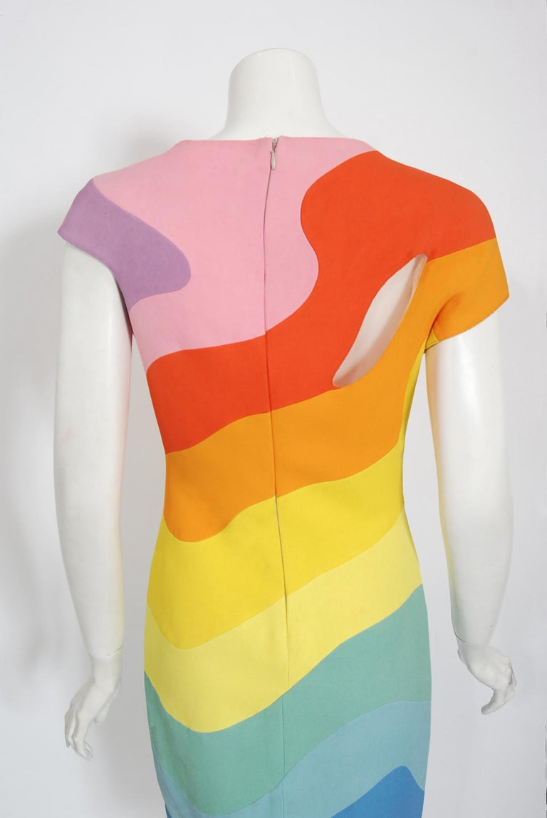 Vintage 1990 Thierry Mugler Couture Documented Rainbow Bodycon Cut-Out Dress For Sale 6