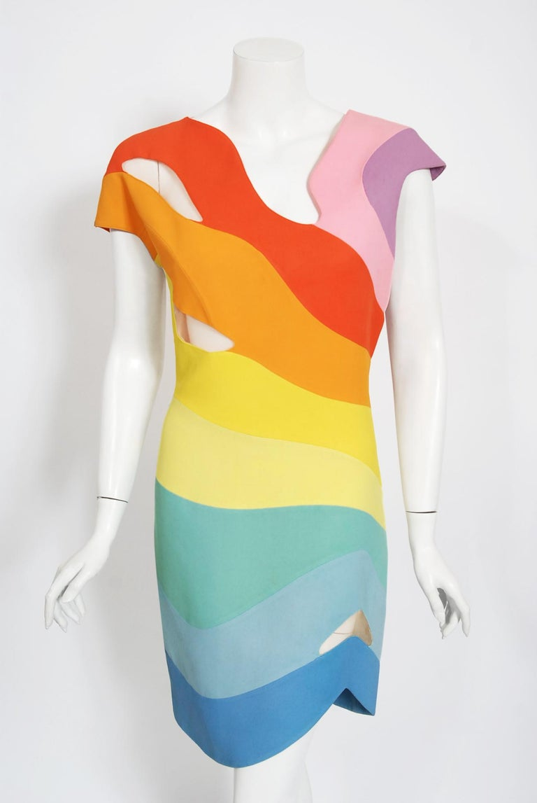 Beige Vintage 1990 Thierry Mugler Couture Documented Rainbow Bodycon Cut-Out Dress For Sale