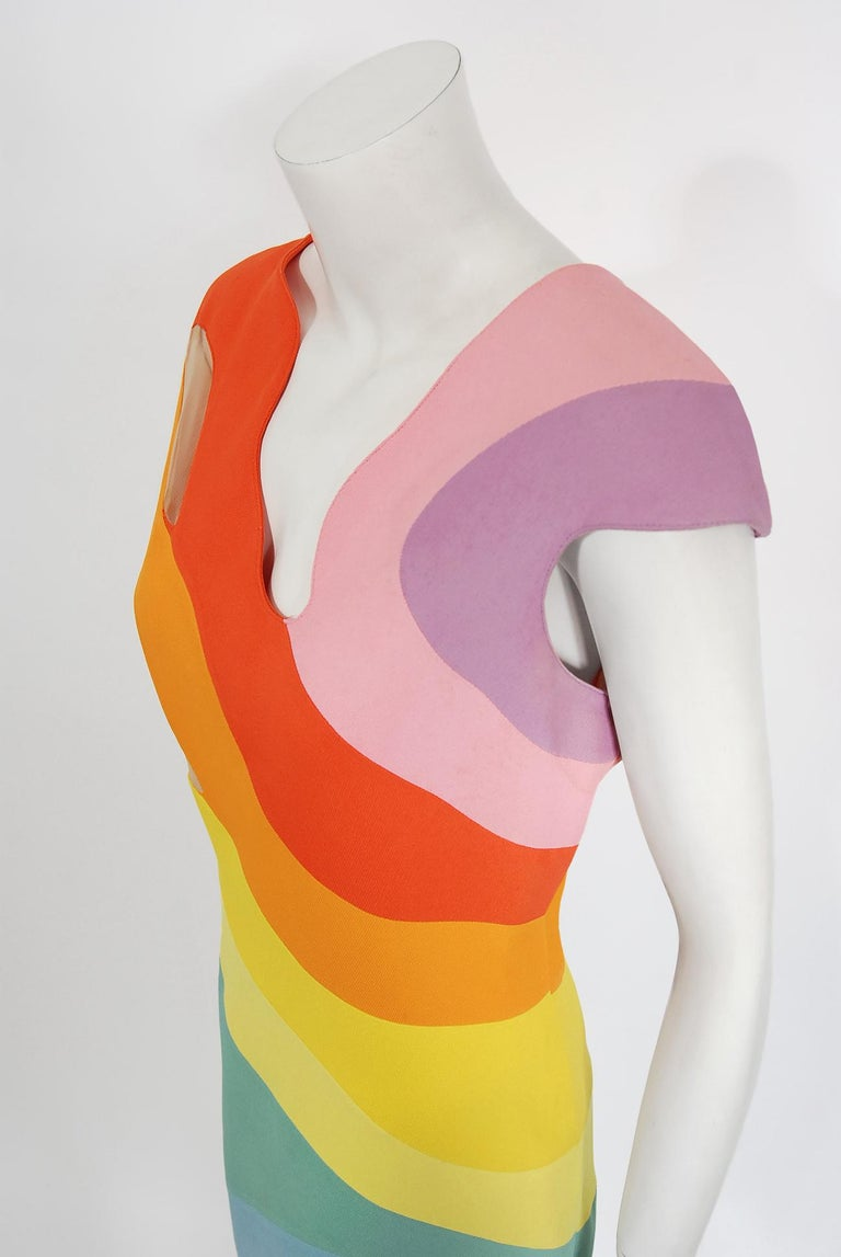 Vintage 1990 Thierry Mugler Couture Documented Rainbow Bodycon Cut-Out Dress In Good Condition For Sale In Beverly Hills, CA