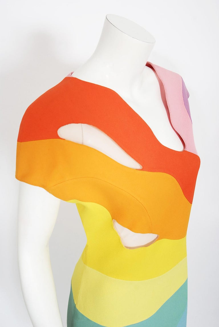 Women's Vintage 1990 Thierry Mugler Couture Documented Rainbow Bodycon Cut-Out Dress For Sale