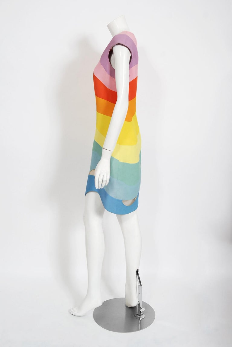 Vintage 1990 Thierry Mugler Couture Documented Rainbow Bodycon Cut-Out Dress For Sale 2