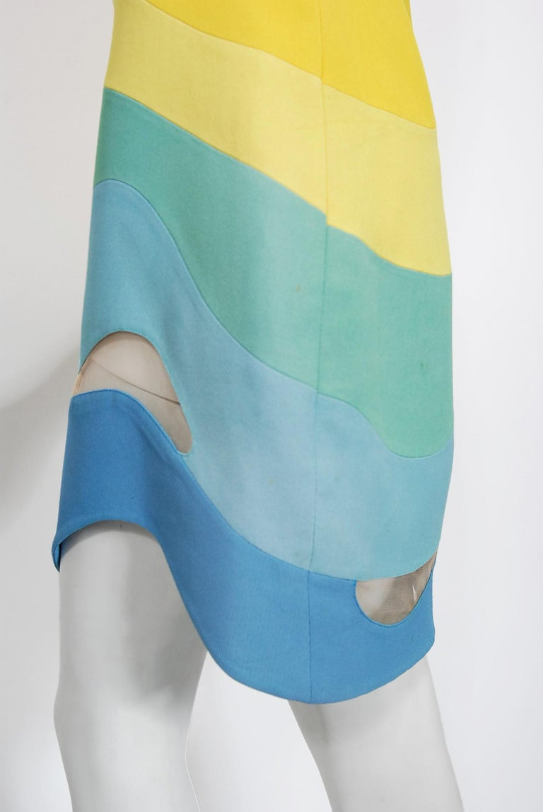 Vintage 1990 Thierry Mugler Couture Documented Rainbow Bodycon Cut-Out Dress For Sale 4
