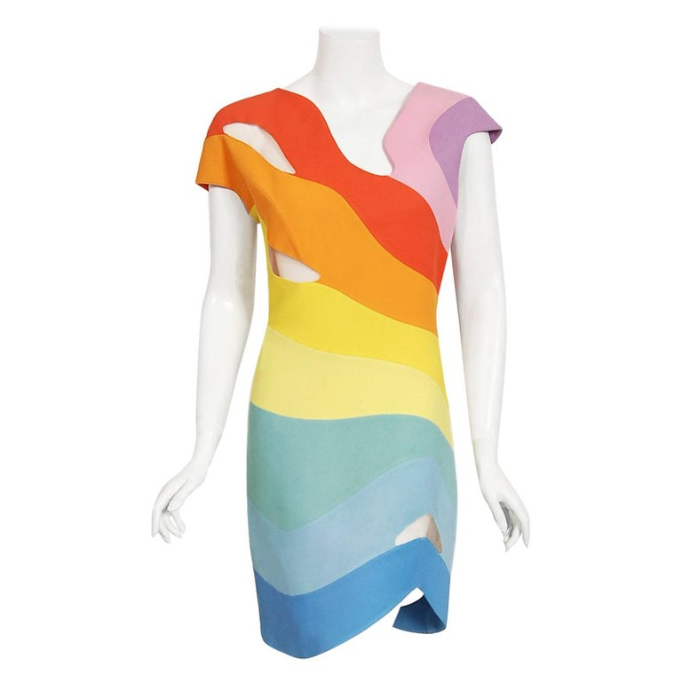 Vintage 1990 Thierry Mugler Couture Documented Rainbow Bodycon Cut-Out Dress For Sale