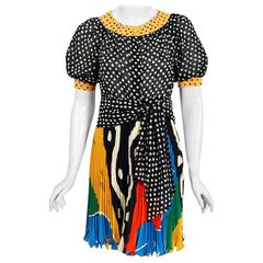 Vintage 1990 Ungaro Paris Colorful Silk Puff-Sleeve Pleated Mini Dress Set