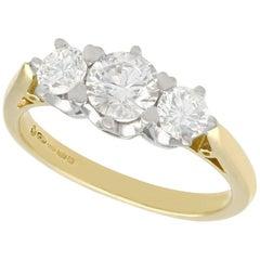 Vintage 1990s 1.18 Carat Diamond Yellow Gold Three-Stone Ring