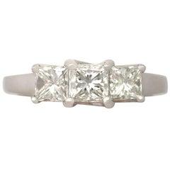 Vintage 1990s 1.34 Carat Diamond and White Gold Trilogy Ring