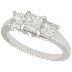Vintage 1990s 1.34 Carat Diamond Gold Three-Stone Ring